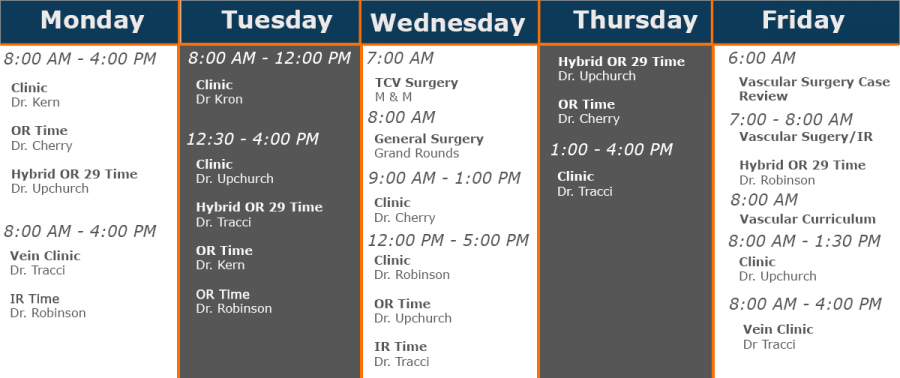Typical vascular surgery curriculum. For full weekly curriculum click here