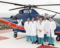 Acute Care and Trauma Surgeons standing in front of pegasus