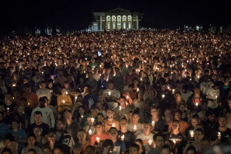 Hundreds of people gather together on UVA Grounds in a stand against hatred and bigotry
